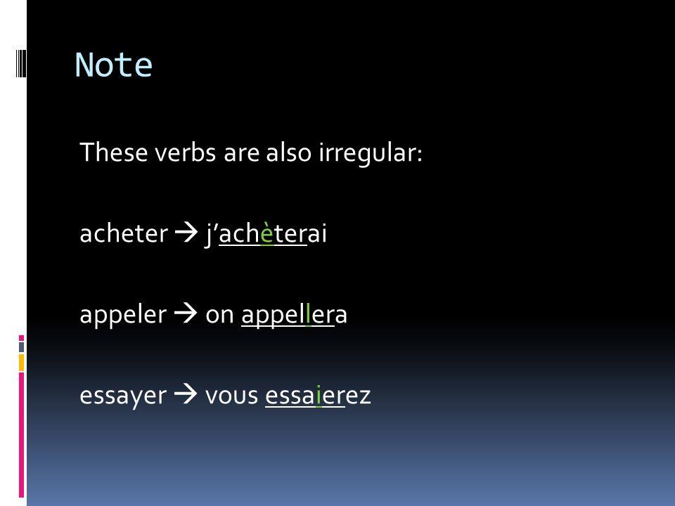 Note These verbs are also irregular: acheter  j'achèterai appeler  on appellera essayer  vous essaierez