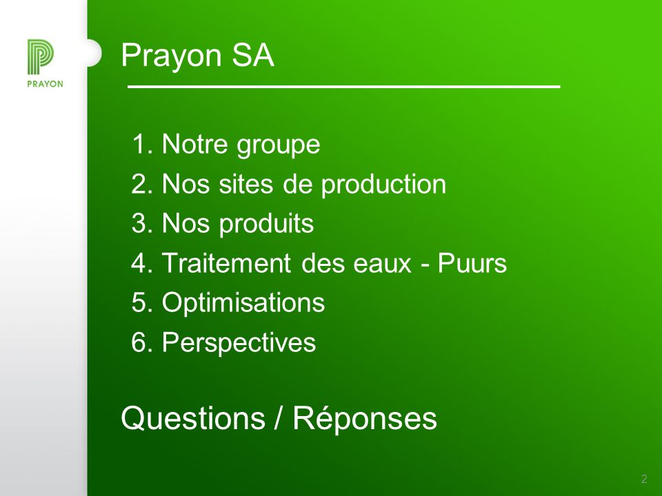 Prayon SA Questions / Réponses Notre groupe 2. Nos sites de production
