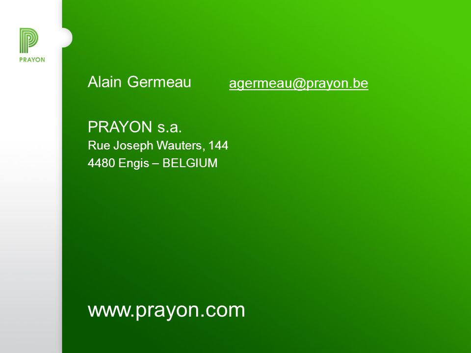 www.prayon.com Alain Germeau agermeau@prayon.be