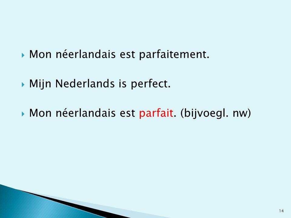 Mon néerlandais est parfaitement.