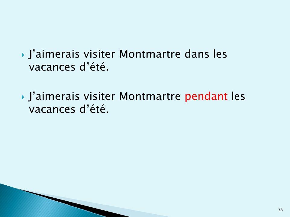 J'aimerais visiter Montmartre dans les vacances d'été.
