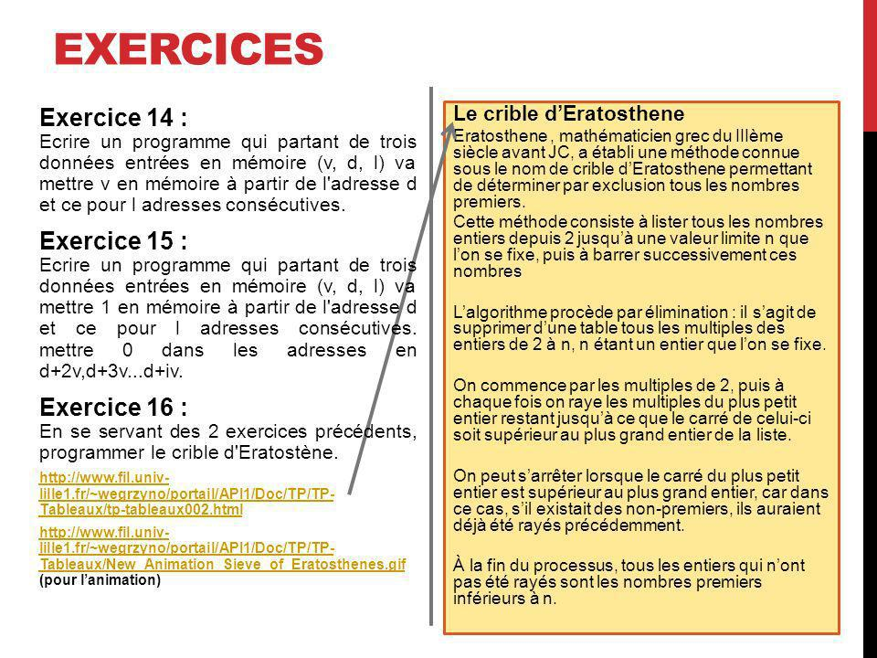 exercices Exercice 14 : Exercice 15 : Exercice 16 :