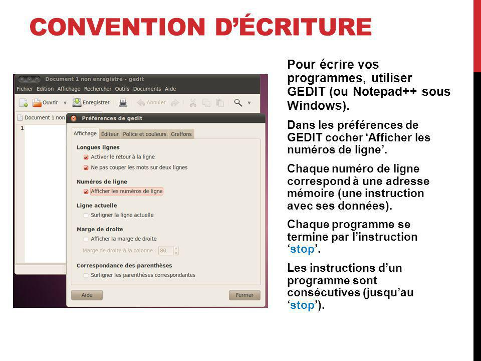 Convention d'écriture