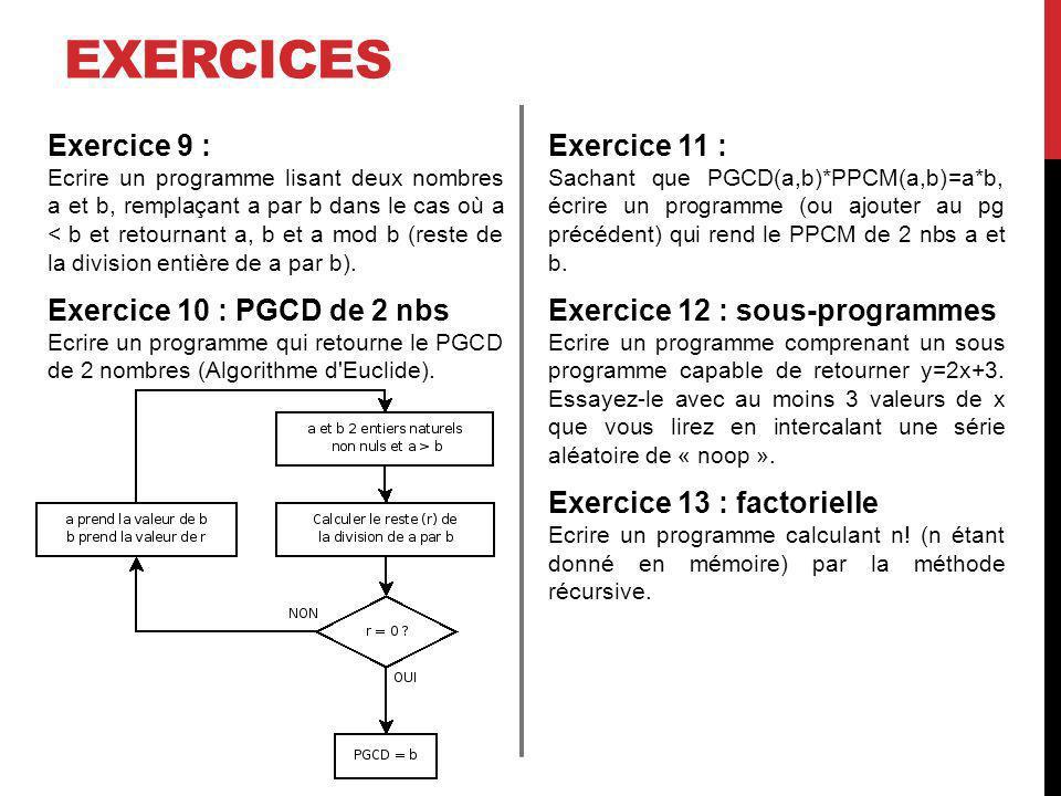 exercices Exercice 9 : Exercice 10 : PGCD de 2 nbs Exercice 11 :