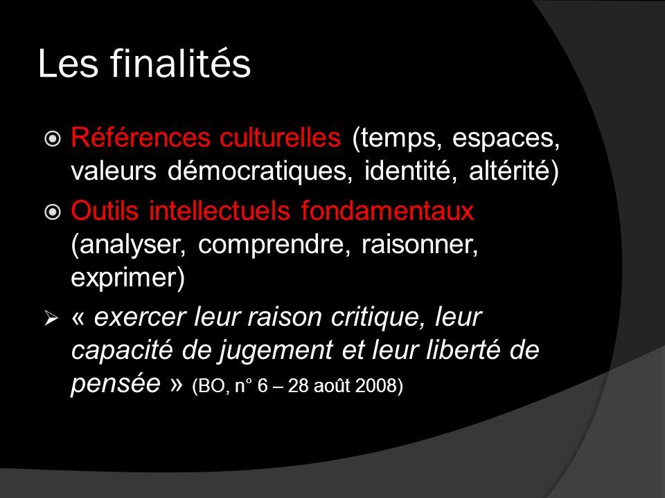 Les finalités Références culturelles (temps, espaces, valeurs démocratiques, identité, altérité)