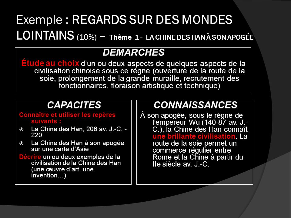 Exemple : REGARDS SUR DES MONDES LOINTAINS (10%) – Thème 1 - LA CHINE DES HAN À SON APOGÉE