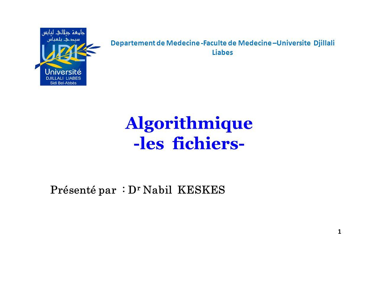 Algorithmique -les fichiers-