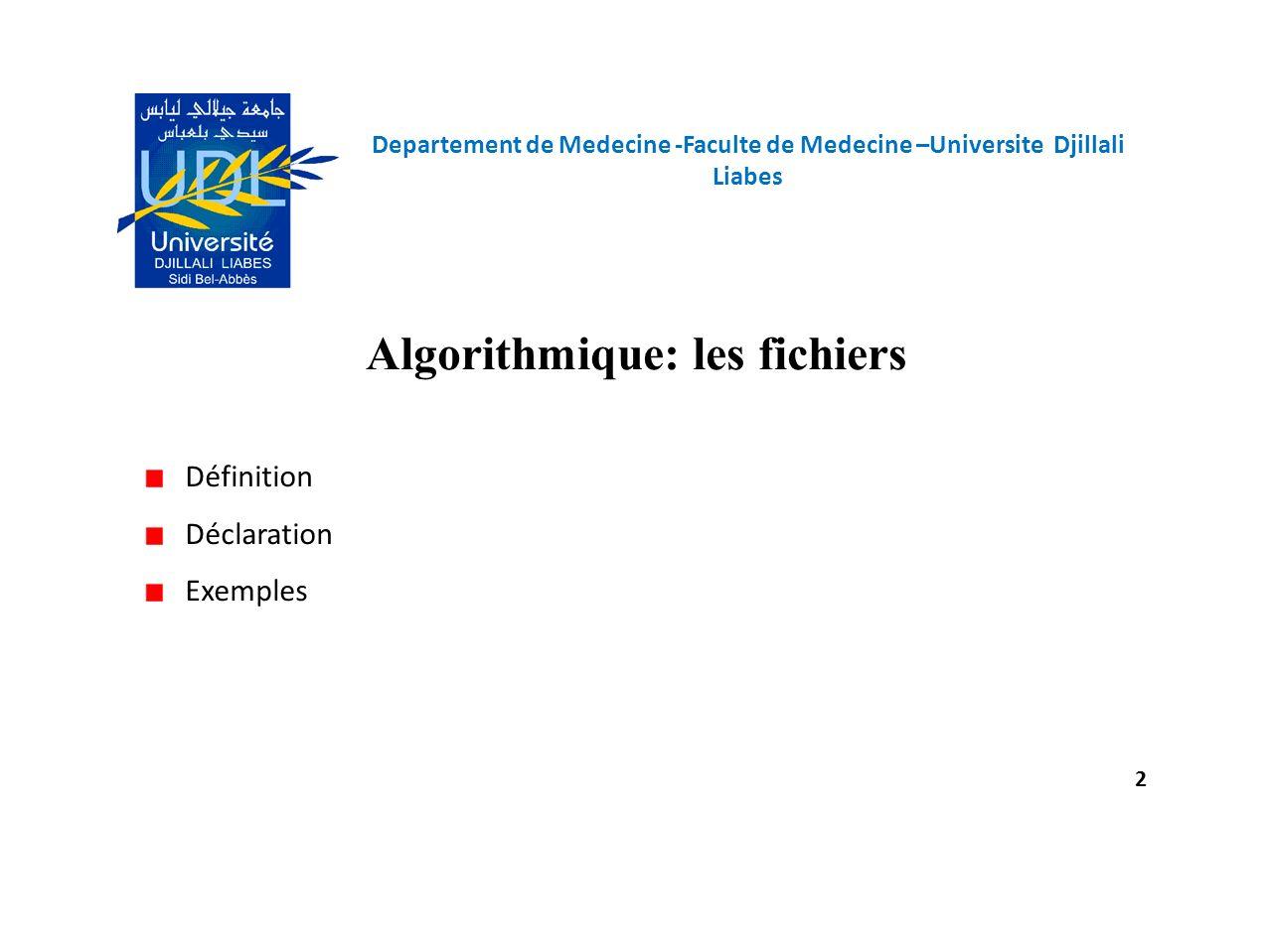 Algorithmique: les fichiers