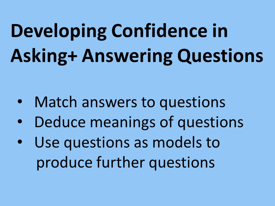 Developing Confidence in Asking+ Answering Questions