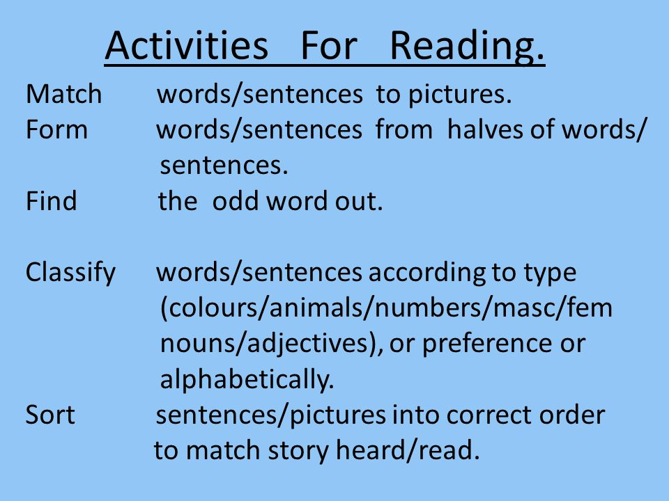 Activities For Reading.