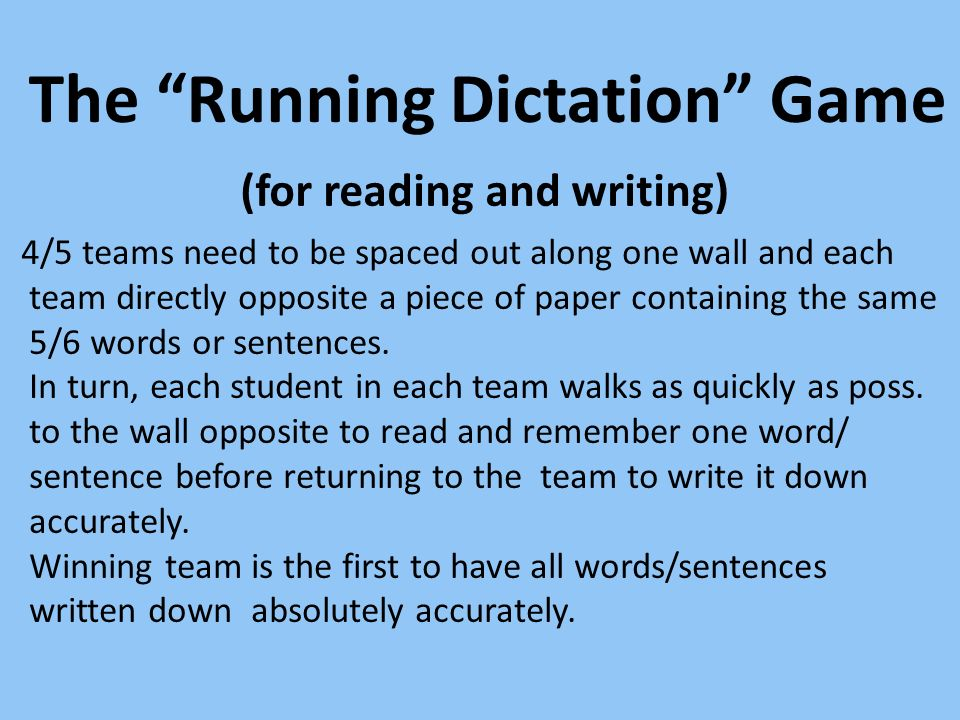 The Running Dictation Game