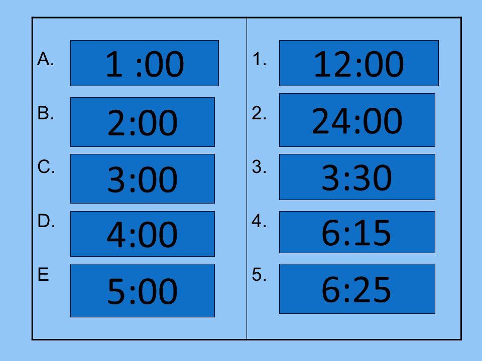 A. B. C. D. E 1. 2. 3. 4. 5. 1 :00 12:00 24:00 2:00 3:00 3:30 4:00 6:15 5:00 6:25