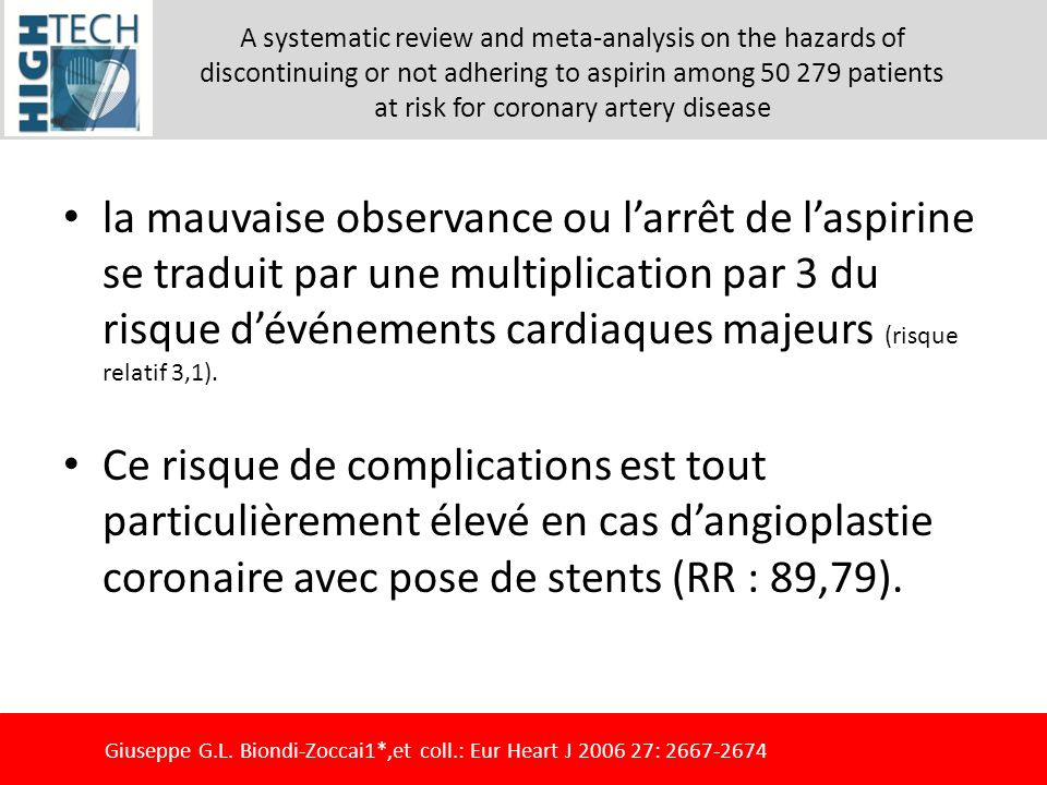 A systematic review and meta-analysis on the hazards of discontinuing or not adhering to aspirin among 50 279 patients at risk for coronary artery disease
