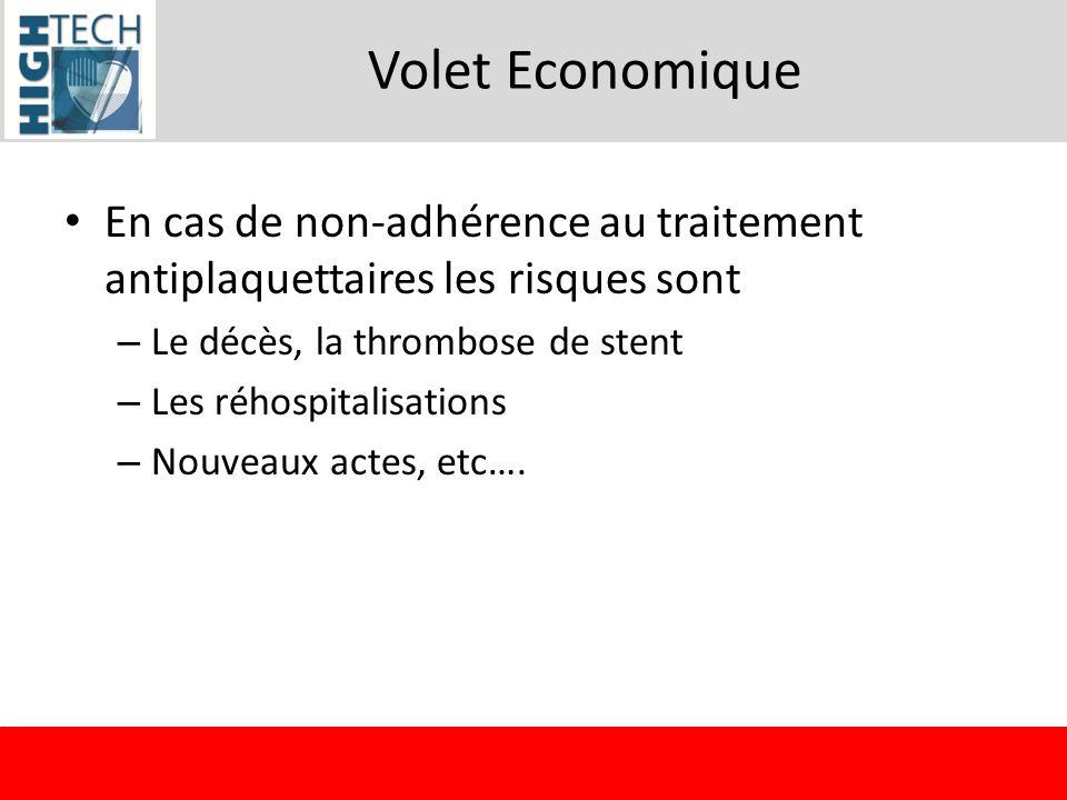 Volet Economique En cas de non-adhérence au traitement antiplaquettaires les risques sont. Le décès, la thrombose de stent.