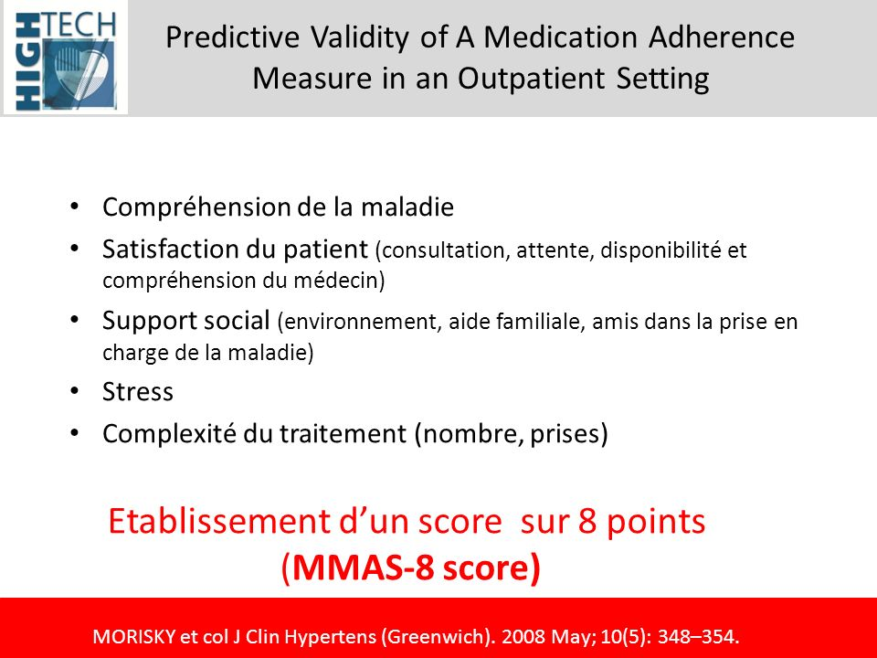 Etablissement d'un score sur 8 points (MMAS-8 score)