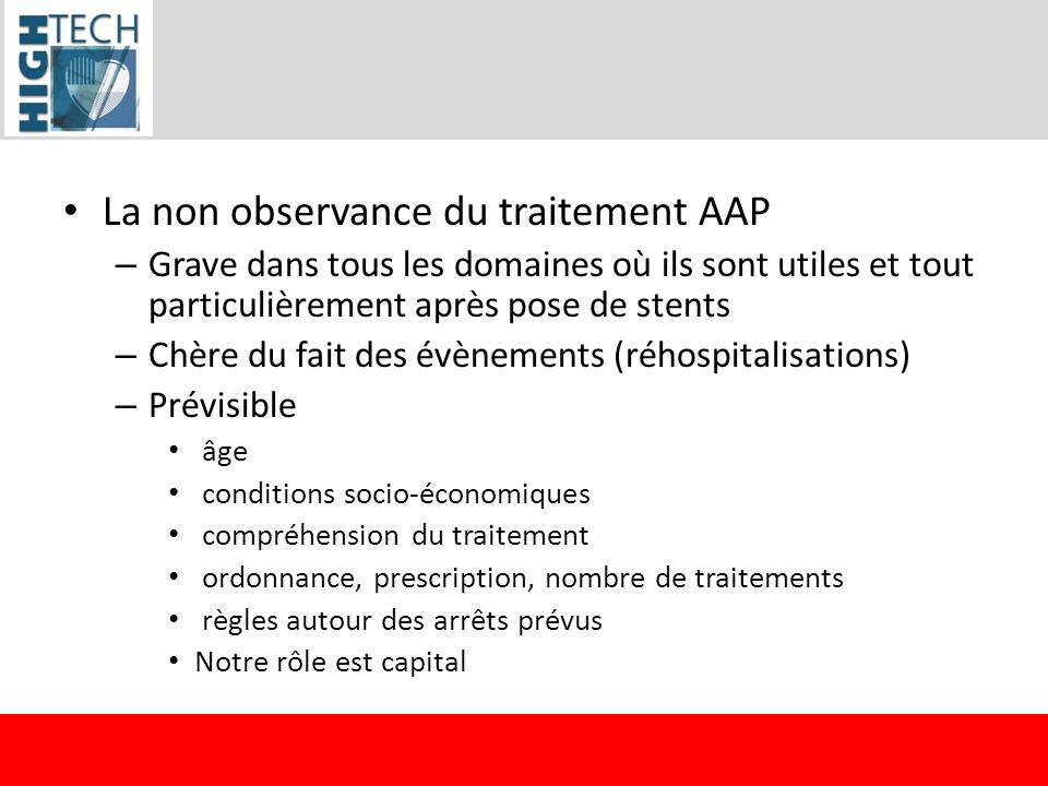 La non observance du traitement AAP