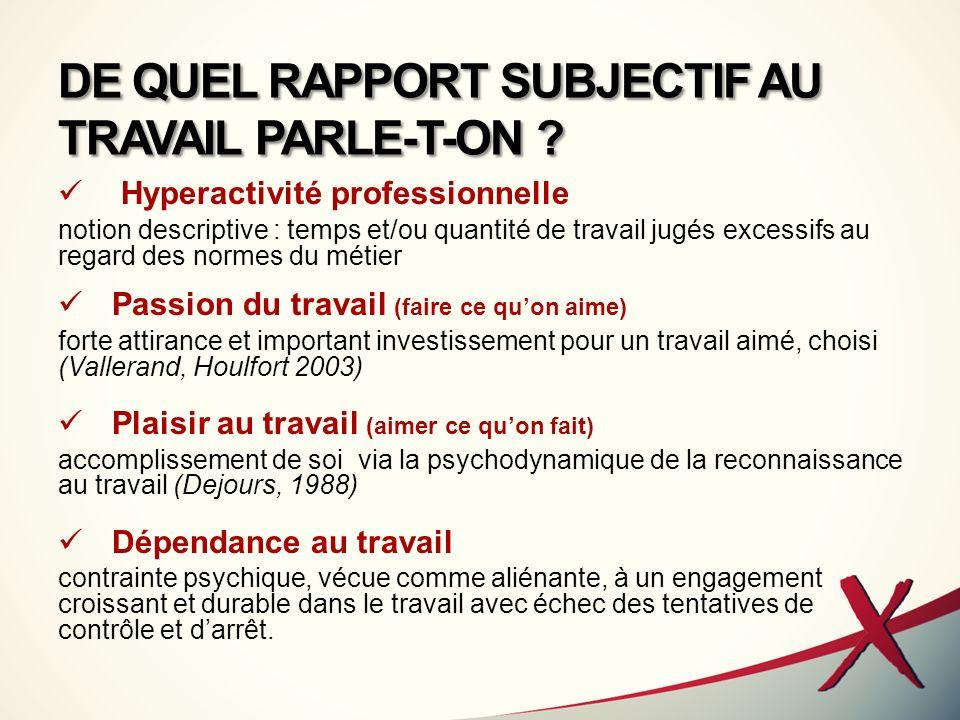 DE QUEL RAPPORT SUBJECTIF AU TRAVAIL PARLE-T-ON
