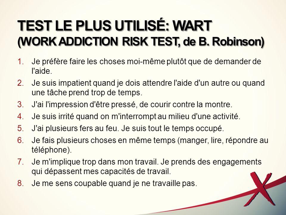 TEST LE PLUS UTILISÉ: WART (WORK ADDICTION RISK TEST, de B. Robinson)