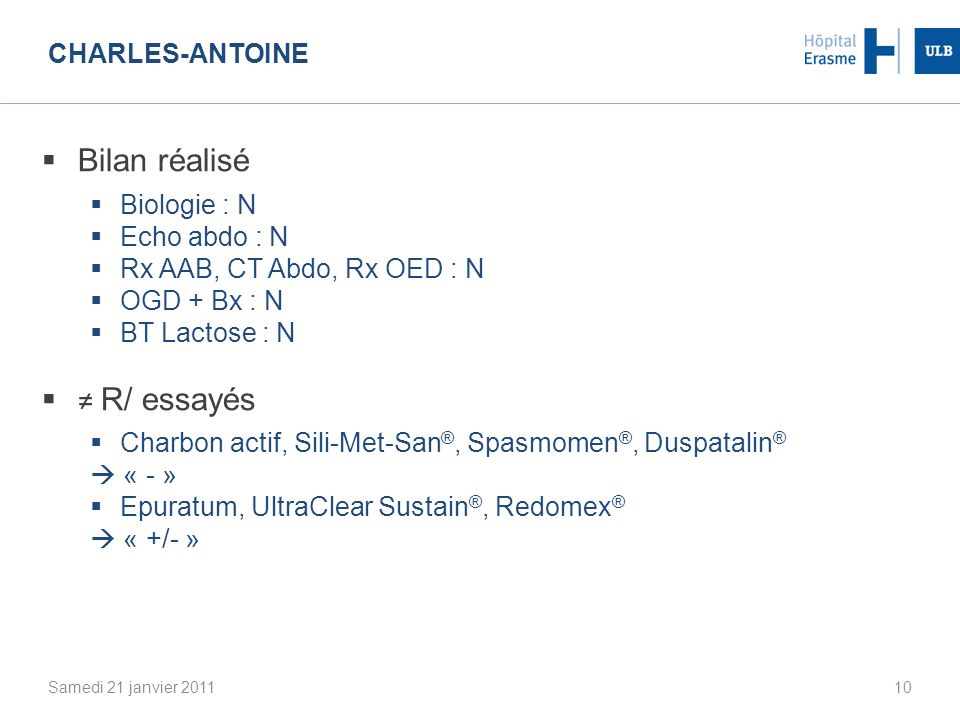 Bilan réalisé ≠ R/ essayés Charles-Antoine Biologie : N Echo abdo : N