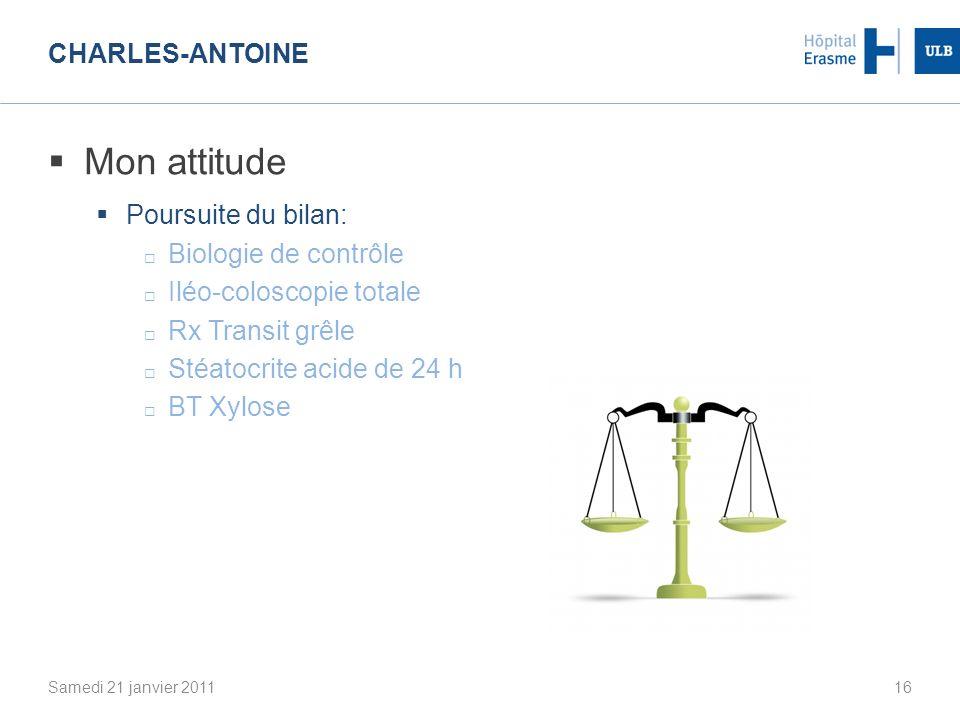 Mon attitude Charles-Antoine Poursuite du bilan: Biologie de contrôle