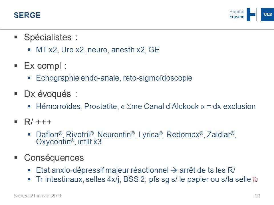 Spécialistes : Ex compl : Dx évoqués : R/ +++ Conséquences Serge