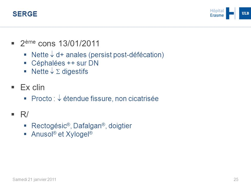 2ème cons 13/01/2011 Ex clin R/ Serge