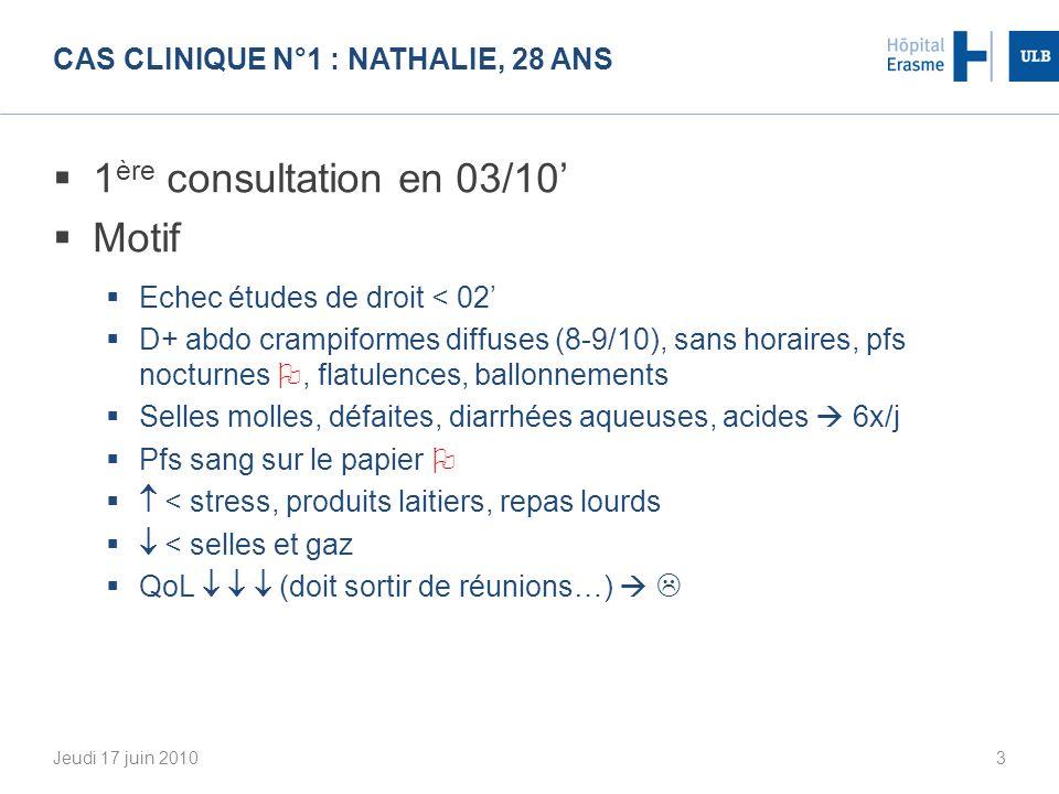 CAS CLINIQUE N°1 : Nathalie, 28 ans