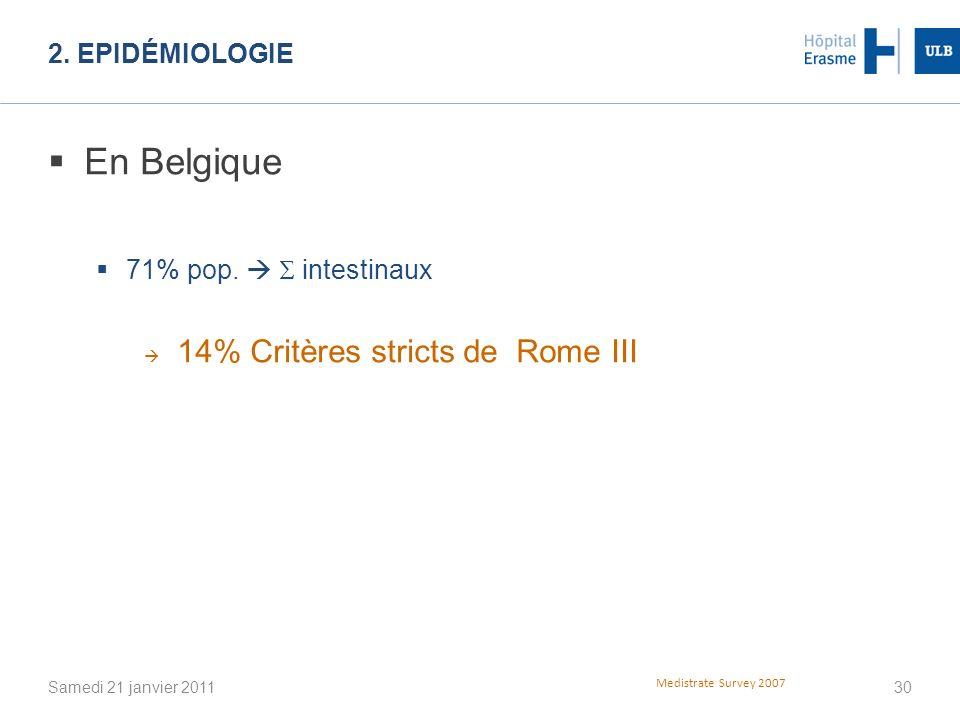 En Belgique 14% Critères stricts de Rome III 2. Epidémiologie