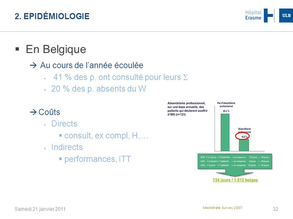 En Belgique 2. Epidémiologie Au cours de l'année écoulée