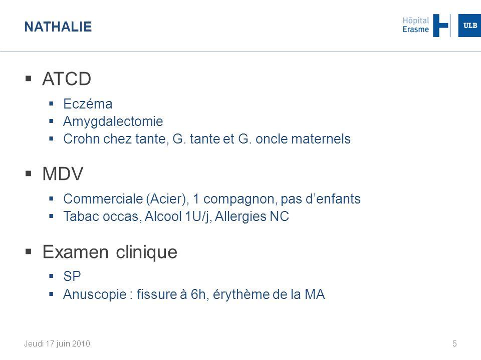 ATCD MDV Examen clinique Nathalie Eczéma Amygdalectomie