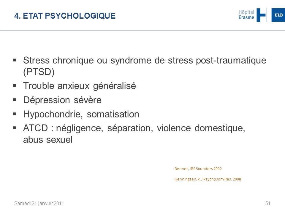 Stress chronique ou syndrome de stress post-traumatique (PTSD)