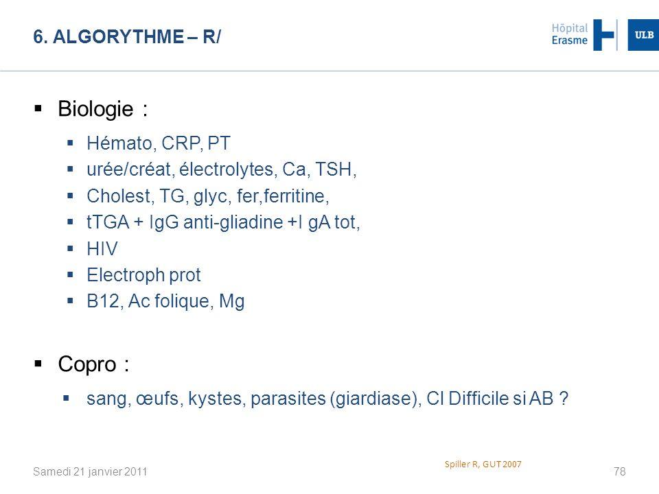 Biologie : Copro : 6. Algorythme – R/ Hémato, CRP, PT
