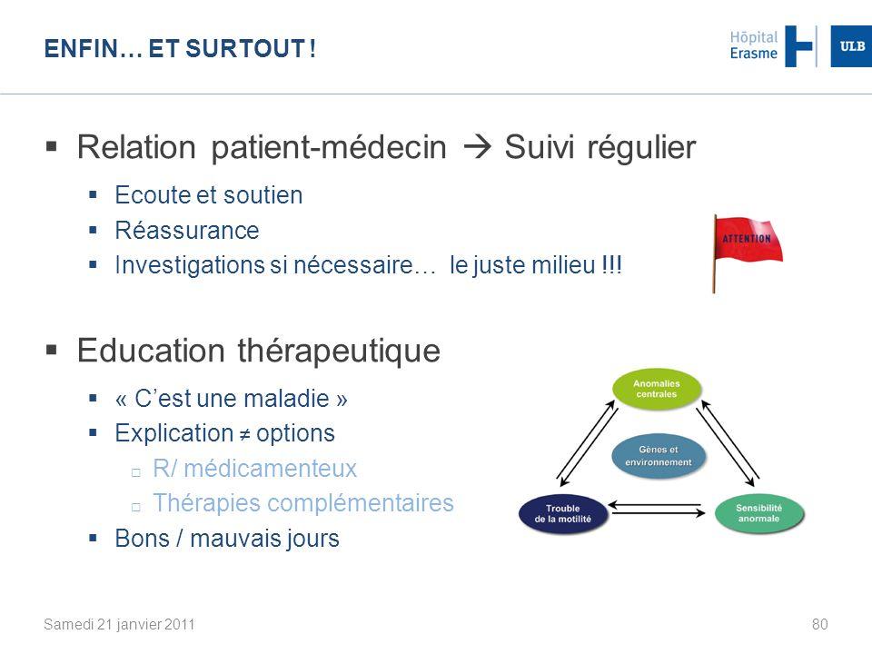 Relation patient-médecin  Suivi régulier