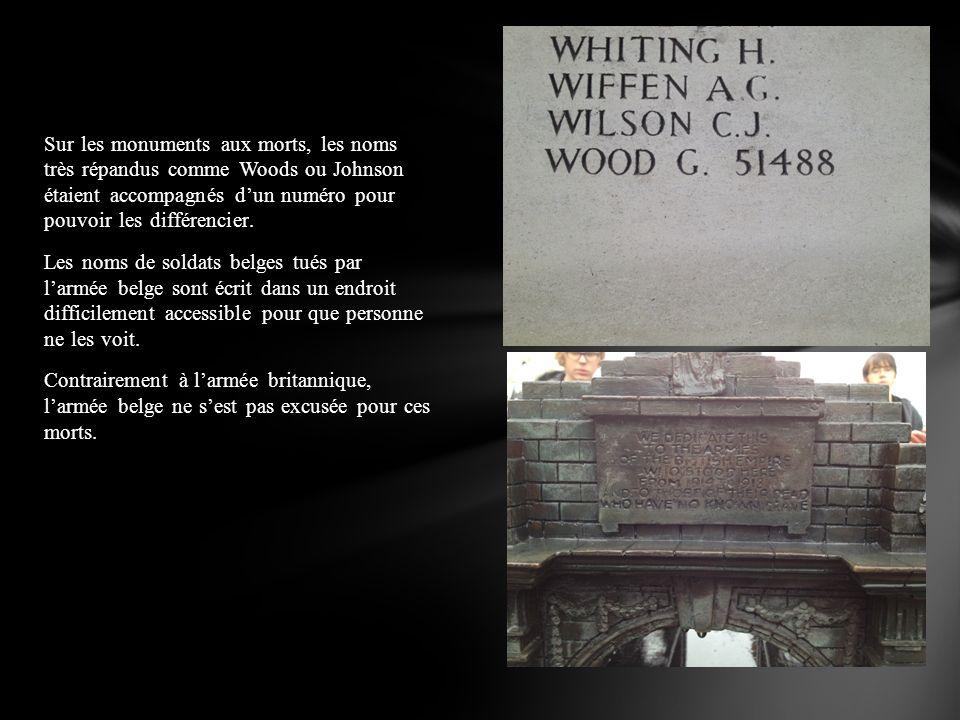 Sur les monuments aux morts, les noms très répandus comme Woods ou Johnson étaient accompagnés d'un numéro pour pouvoir les différencier.