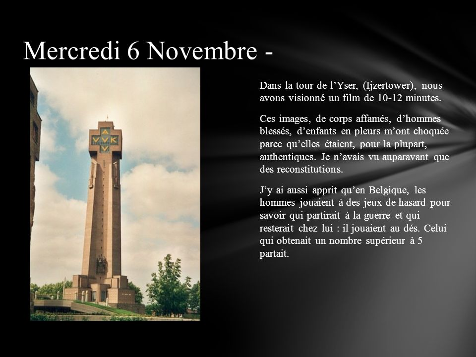 Mercredi 6 Novembre -