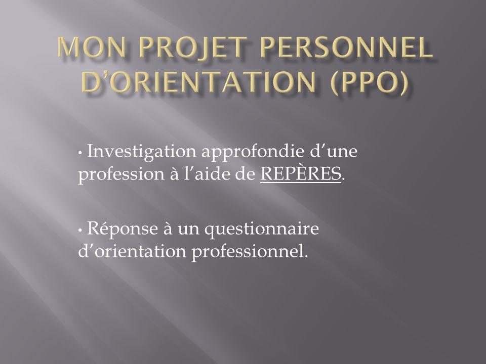 Mon Projet Personnel d'orientation (PPO)