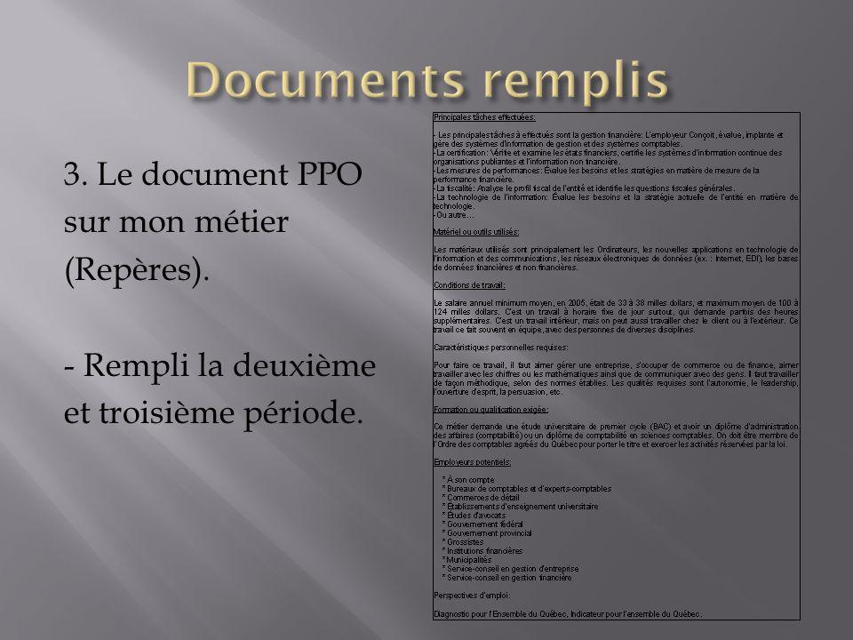 Documents remplis 3. Le document PPO sur mon métier (Repères).