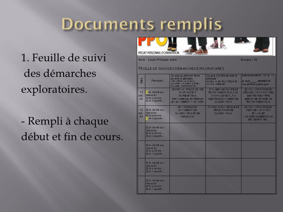 Documents remplis 1. Feuille de suivi des démarches exploratoires.