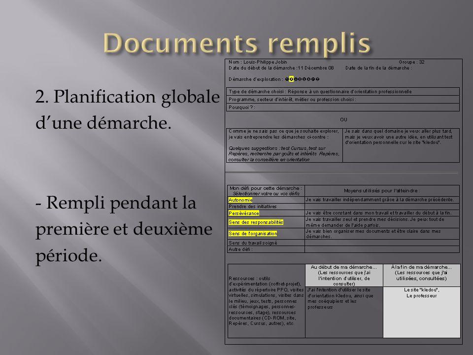 Documents remplis 2. Planification globale d'une démarche.