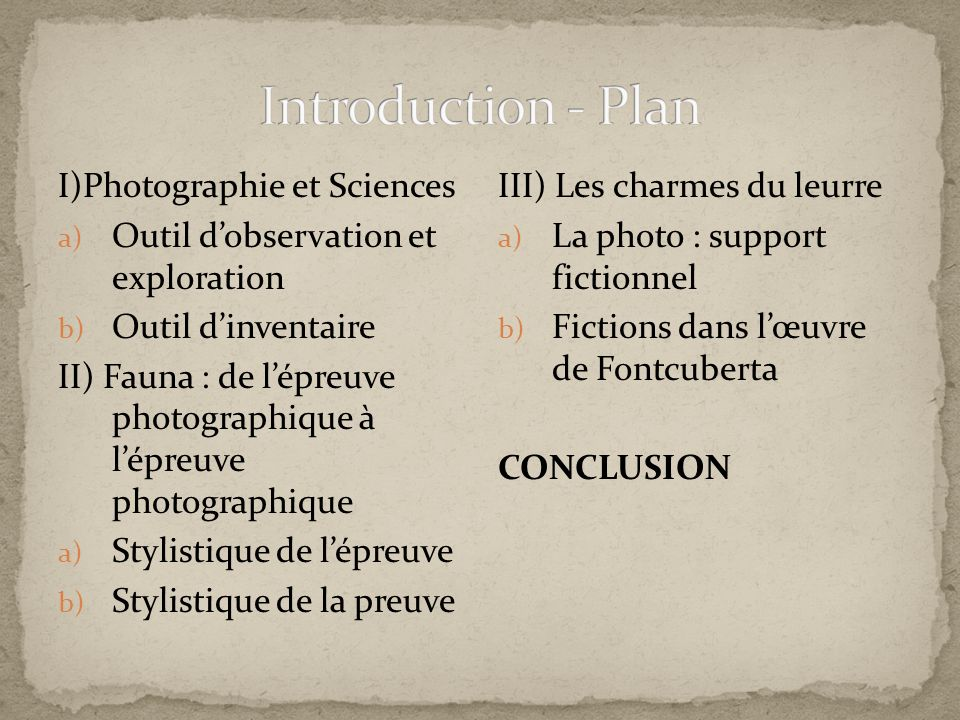 Introduction - Plan I)Photographie et Sciences