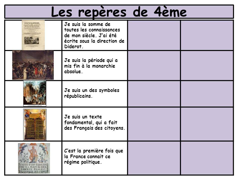 Les repères de 4ème Je suis la somme de toutes les connaissances de mon siècle. J'ai été écrite sous la direction de Diderot.