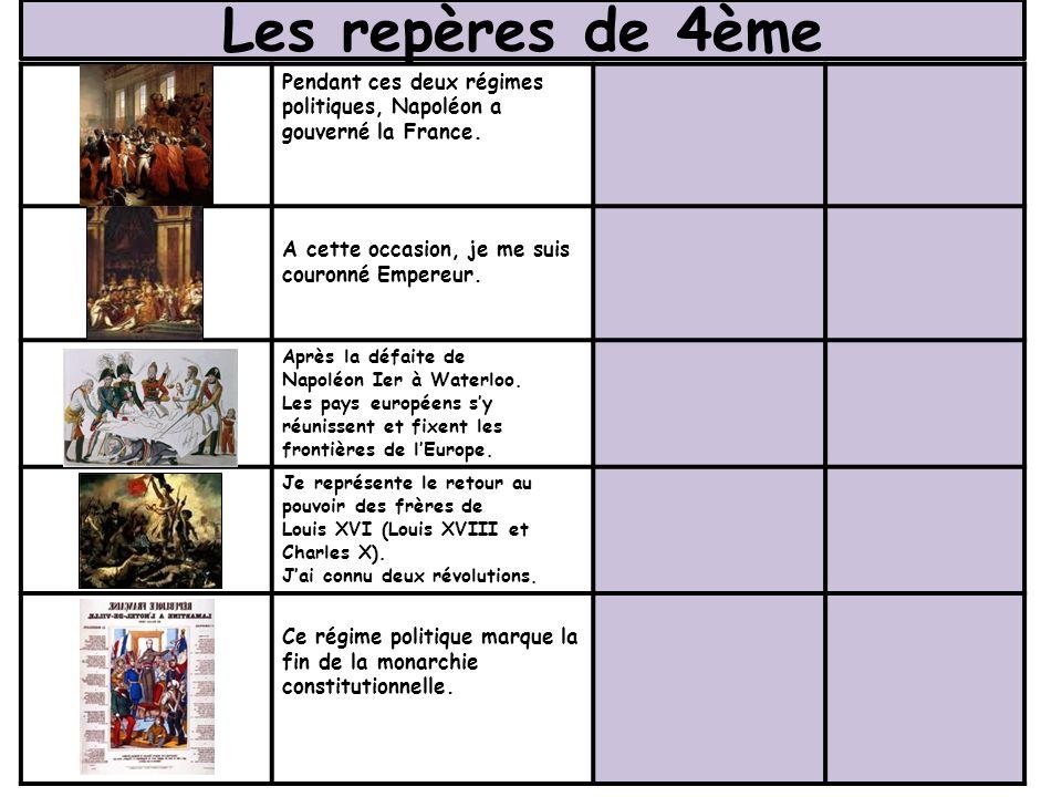 Les repères de 4ème Pendant ces deux régimes politiques, Napoléon a gouverné la France. A cette occasion, je me suis couronné Empereur.