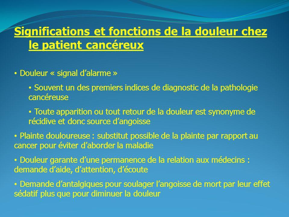 Significations et fonctions de la douleur chez le patient cancéreux