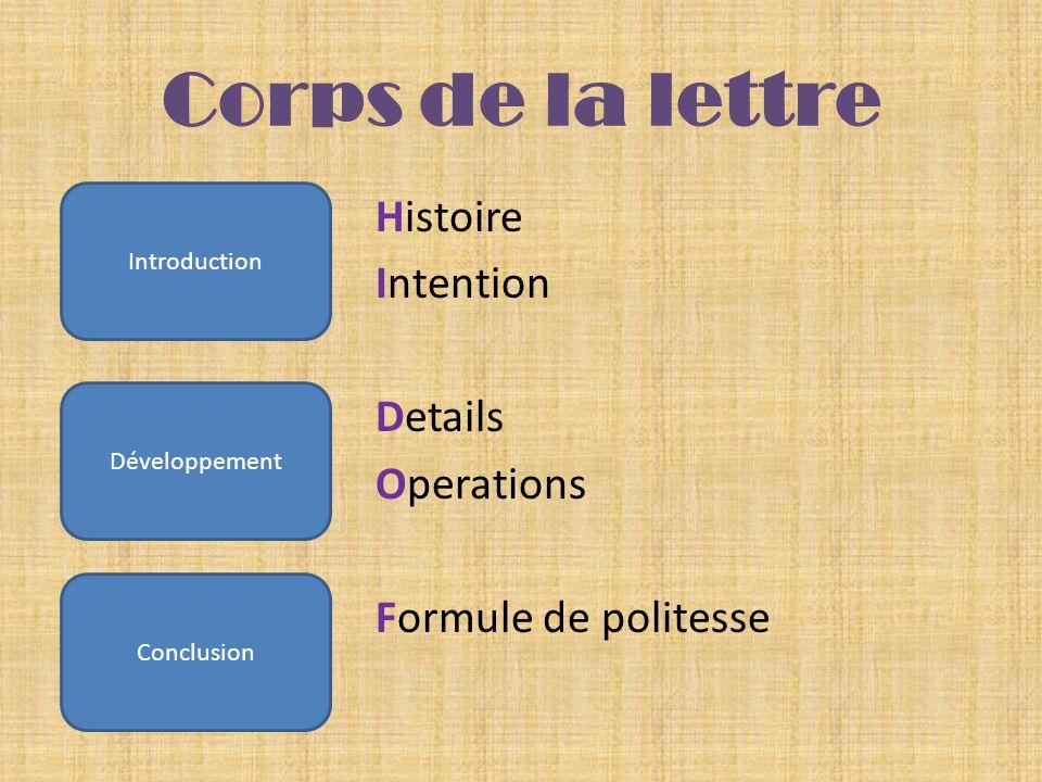 Corps de la lettreHistoire Intention Details Operations Formule de politesse Introduction. Développement.