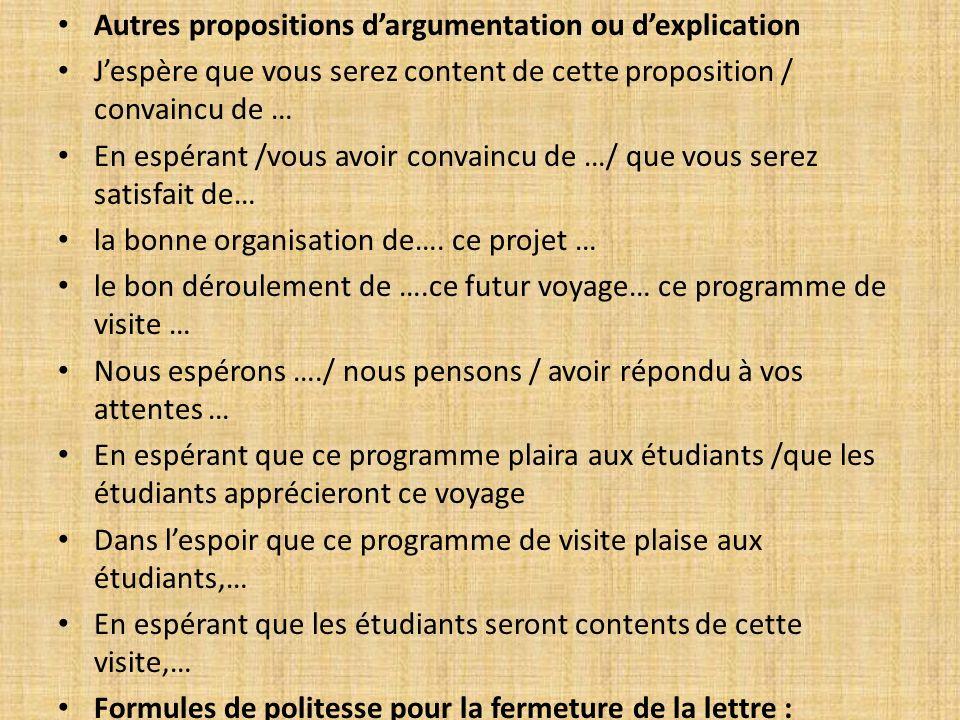 Autres propositions d'argumentation ou d'explication