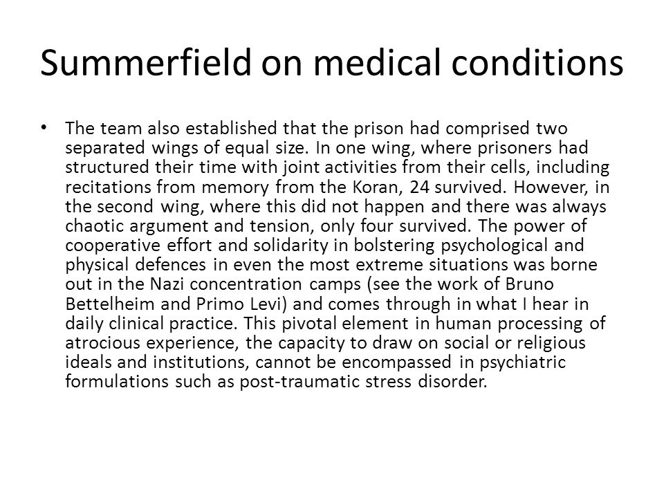 Summerfield on medical conditions