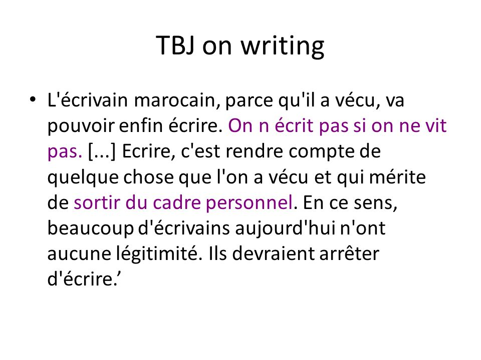 TBJ on writing