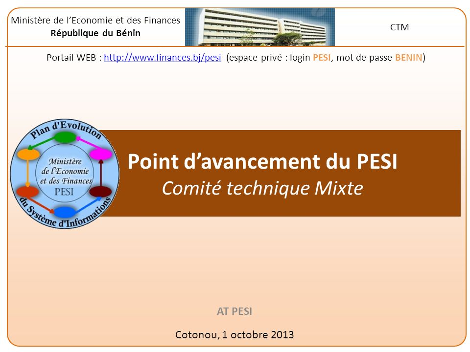Point d'avancement du PESI Comité technique Mixte