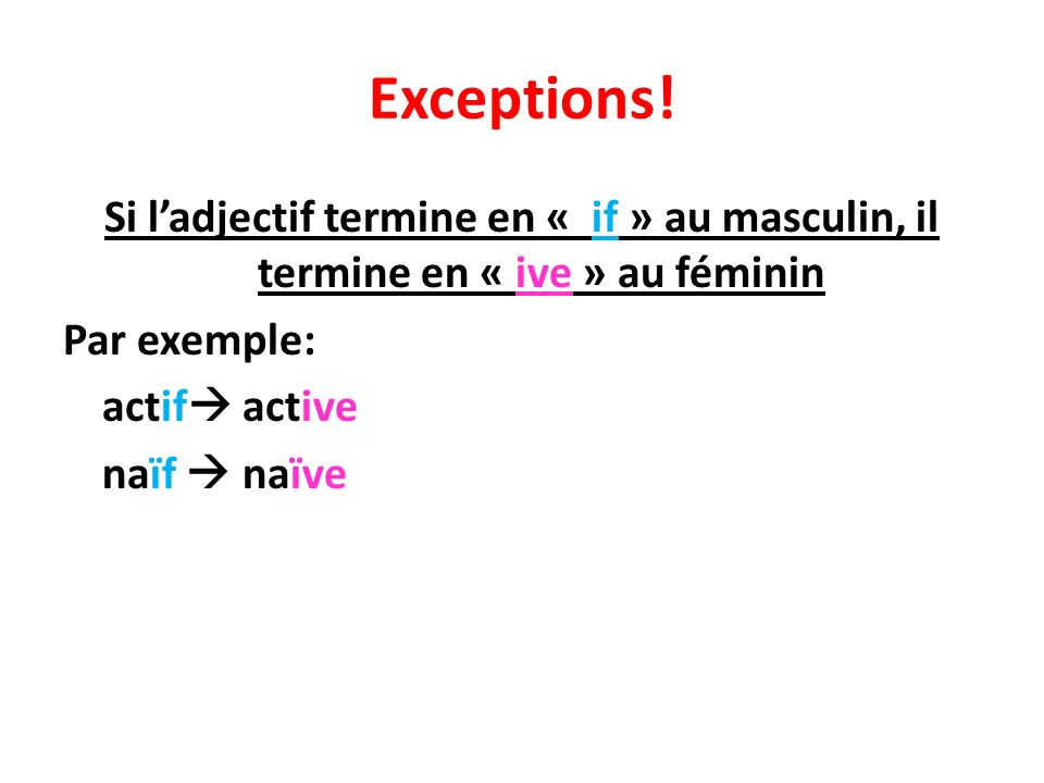 Exceptions.