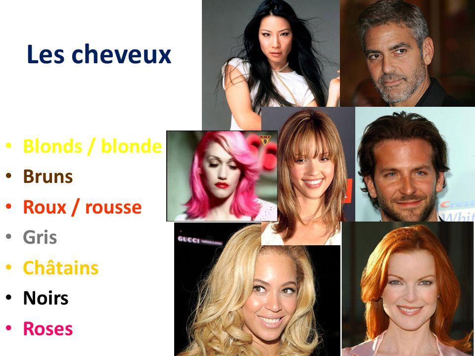 Les cheveux Blonds / blonde Bruns Roux / rousse Gris Châtains Noirs